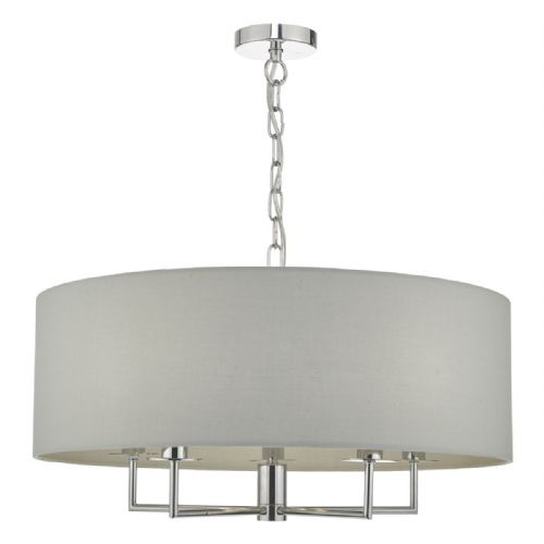 Jamelia 5lt Pendant Polished Chrome & Grey (double insulated) BXJAM0539-17